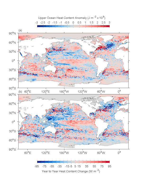 Estimate of the ocean heat content anomaly for 2013 referenced to a 1993-2013 base period (top panel). Estimate of the change in ocean heat content anomaly from 2012 to 2013 (bottom panel).